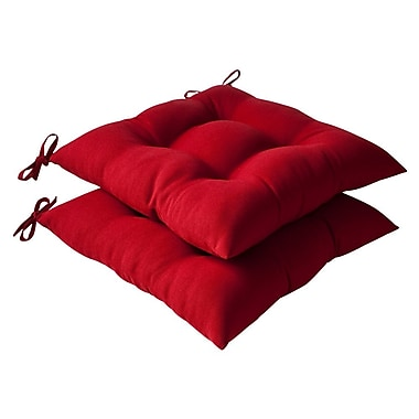 Pillow Perfect Regis Outdoor Dining Chair Cushion (Set of 2); Red Solid