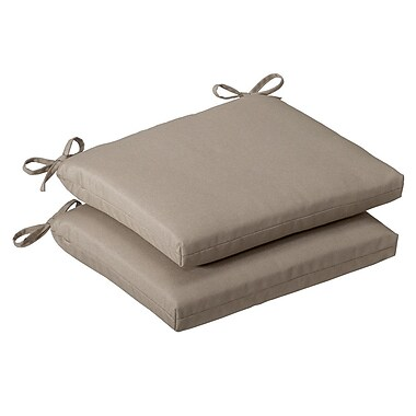 Pillow Perfect Outdoor Dining Chair Cushion (Set of 2); Beige Solid