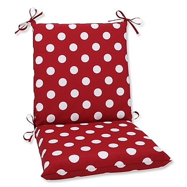 Pillow Perfect Outdoor Dining Chair Cushion; Red/White Polka Dot