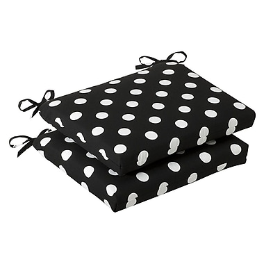 Pillow Perfect Outdoor Dining Chair Cushion (Set of 2); Black/White Polka Dot