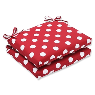 Pillow Perfect Outdoor Dining Chair Cushion (Set of 2); Red/White Polka Dot