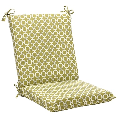 Pillow Perfect Outdoor Lounge Chair Cushion; Green/White Geometric
