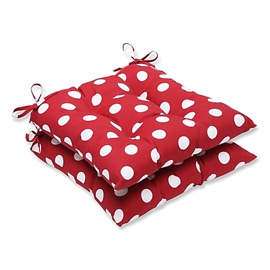 Pillow Perfect Tufted Outdoor Dining Chair Cushion (Set of 2); Red/White Polka Dot