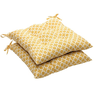 Pillow Perfect Outdoor Dining Chair Cushion (Set of 2); Yellow/White Geometric