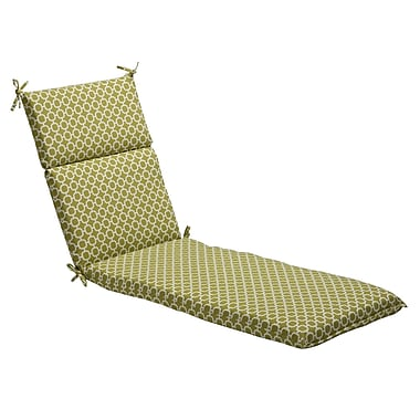 Pillow Perfect Geometric Outdoor Chaise Lounge Cushion; Green/White Geometric