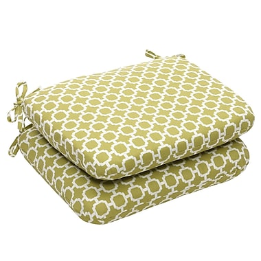 Pillow Perfect Outdoor Dining Chair Cushion (Set of 2); Green/White Geometric