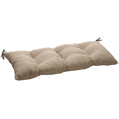 Pillow Perfect Outdoor Loveseat Cushion; Taupe Textured Solid