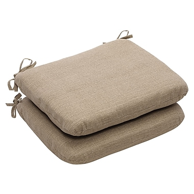Pillow Perfect Outdoor Dining Chair Cushion (Set of 2); Taupe Textured Solid