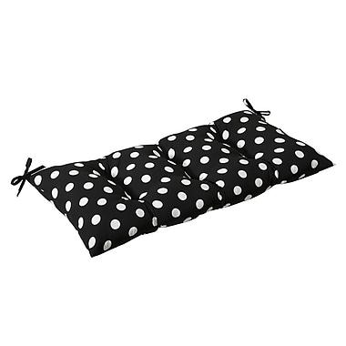 Pillow Perfect Outdoor Loveseat Cushion; Black/White Polka Dot