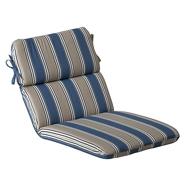 Pillow Perfect Outdoor Lounge Chair Cushion; Blue/Tan Striped