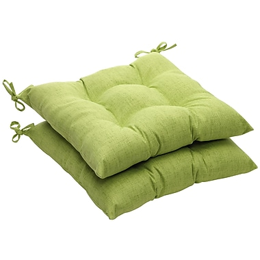 Pillow Perfect Outdoor Dining Chair Cushion (Set of 2); Green Textured Solid