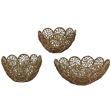 Kindwer 3 Piece Jute Rope Basket w/ Iron Frame Set