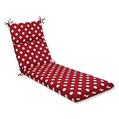 Pillow Perfect Polka Dot Outdoor Chaise Lounge Cushion; Red/White Polka Dot