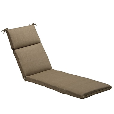 Pillow Perfect Textured Solid Outdoor Chaise Lounge Cushion; Taupe Textured Solid