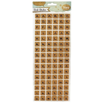 JAM Paper® Self Adhesive Alphabet Letters Stickers, Cork, 96/pack (132828773)