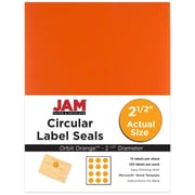 JAM Paper® Round Circle Label Sticker Seals, 2.5 inch diameter, Orange, 120/pack (147628584)