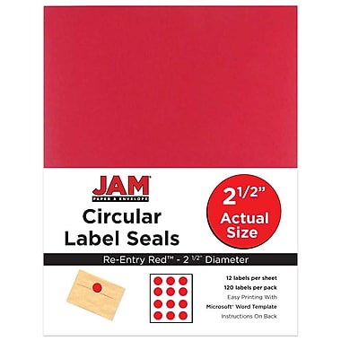 JAM Paper® Round Circle Label Sticker Seals, 2.5 inch diameter, Red, 120/Pack (147628585)
