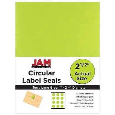 JAM Paper® Round Circle Label Sticker Seals, 2.5 inch diameter, Green, 120/Pack (147628589)