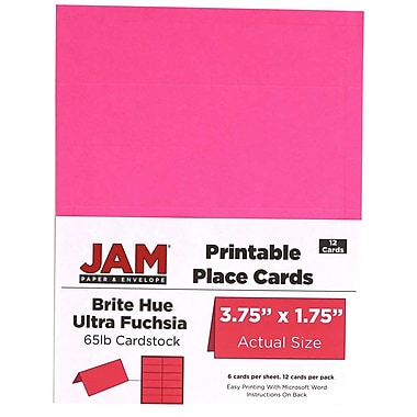 JAM Paper® Printable Place Cards, 1.75 x 3.75, Brite Hue Ultra Fuchsia Pink Placecards, 2 packs of 12 (225928555g)