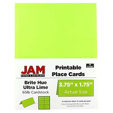 JAM Paper® Printable Place Cards, 1.75 x 3.75, Brite Hue Ultra Lime Placecards, 2 packs of 12 (225928556g)