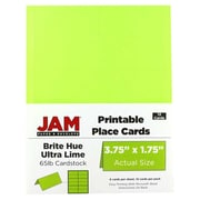 JAM Paper® Printable Place Cards, 1.75 x 3.75, Brite Hue Ultra Lime Placecards, 12/pack (225928556)
