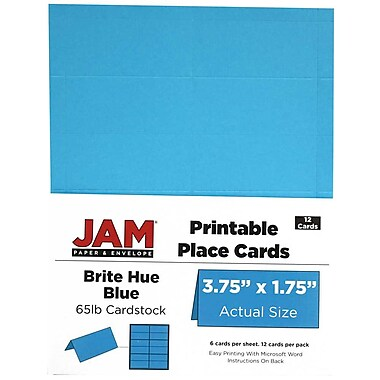 JAM Paper® Printable Place Cards, 1.75 x 3.75, Brite Hue Blue Placecards, 2 packs of 12 (225928560g)