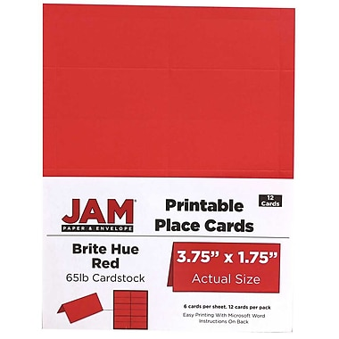 JAM Paper® Printable Place Cards, 1.75 x 3.75, Brite Hue Red Placecards, 2 packs of 12 (225928562g)