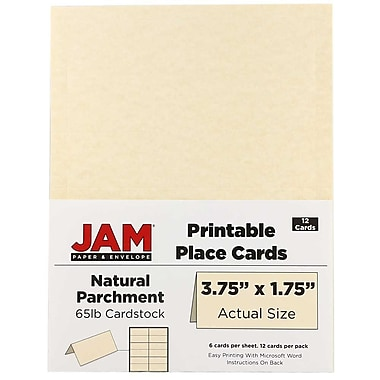 JAM Paper® Printable Place Cards, 1.75 x 3.75, Natural Parchment Placecards, 2 packs of 12 (225928563g)