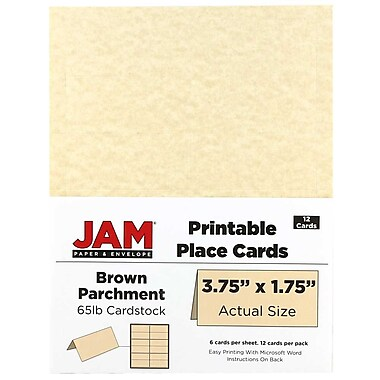 JAM Paper® Printable Place Cards, 1.75 x 3.75, Brown Parchment Placecards, 2 packs of 12 (225928564g)