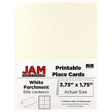 JAM Paper® Printable Place Cards, 1.75 x 3.75, White Parchment Placecards, 2 packs of 12 (225928565g)