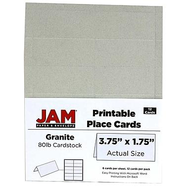 JAM Paper® Printable Place Cards, 1.75 x 3.75, Granite Grey Placecards, 2 packs of 12 (225928566g)