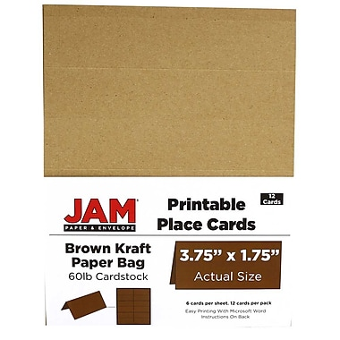JAM Paper® Printable Place Cards, 1.75 x 3.75, Brown Kraft Paper Bag Placecards, 2 packs of 12 (225928567g)
