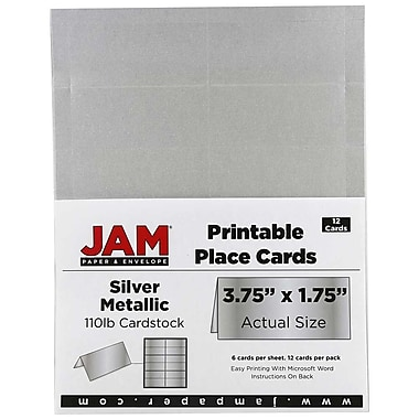 JAM Paper® Printable Place Cards, 1.75 x 3.75, Stardream Metallic Silver Placecards, 2 packs of 12 (225928570g)