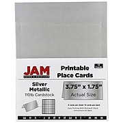 JAM Paper® Printable Place Cards, 3 3/4 x 1 3/4, Stardream Metallic Silver Placecards, 12/Pack (225928570)