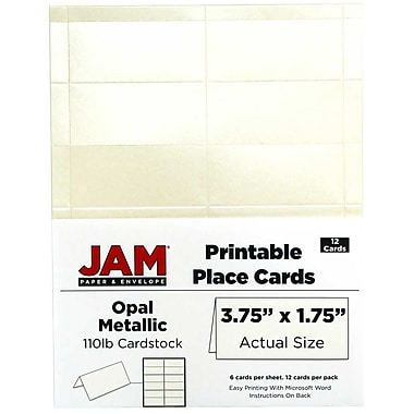 JAM Paper® Printable Place Cards, 1.75 x 3.75, Stardream Metallic Opal Placecards, 2 packs of 12 (225928572g)