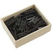 JAM Paper® Wood Clip Clothespins, Small 7/8 Inch, Black Clothes Pins, 50/Pack (230729131)