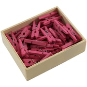 JAM Paper® Wood Clothing Pin Clips, Small 7/8, Fuchsia Pink, 50/pack (230729139)