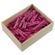 JAM Paper® Wood Clothing Pin Clips, Medium 1 1/8, Fuchsia Pink, 50/pack (230729149)