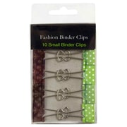 JAM Paper® Fashion Design Binder Clips, Small, 19mm, Green and White Polka Dots Binderclips, 10/pack (336128838)