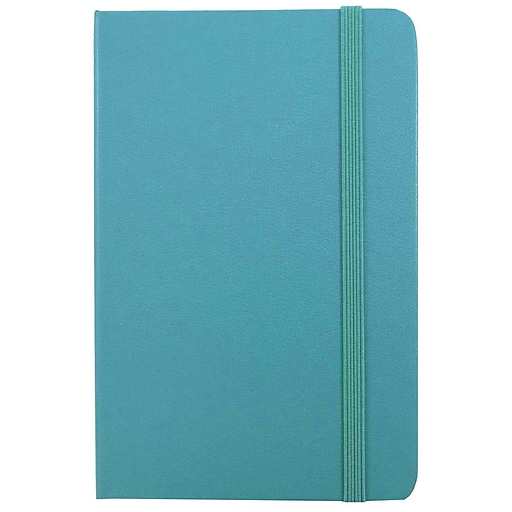 JAM Paper® Hardcover Notebook With Elastic, Travel Journal, 4x6, Caribbean Blue, 70 Lined Sheets, Sold Individually (340528850)