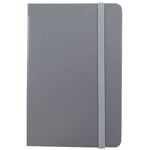 JAM Paper® Hardcover Notebook With Elastic Closure, Travel Journal, 4 x 6, Grey, 70 Lined Sheets, Sold Individually (340528853)