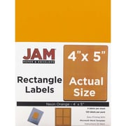 JAM Paper® Mailing Address Labels, 4 x 5, Neon Orange, 120/pack (354329159)