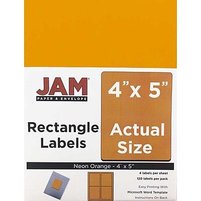 JAM Paper® Mailing Address Labels, 4 x 5, Neon Orange, 120/pack (354329159)