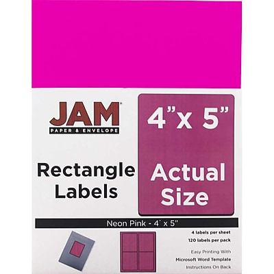 JAM Paper® Mailing Address Labels, 4 x 5, Neon Pink, 120/pack (354329165)