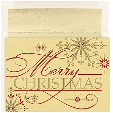 JAM Paper® Christmas Holiday Cards Set, Merry Christmas Flakes, 16/Pack (526860800)