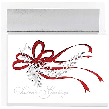 JAM Paper® Christmas Holiday Cards Set, Silver Pinecone, 16/Pack (526861000)