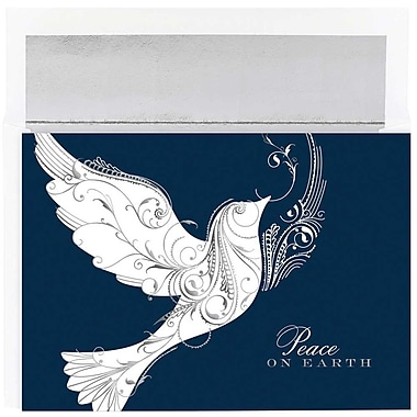 JAM Paper® Christmas Holiday Cards Set, Peace on Earth Dove, 18/Pack (526861400g)