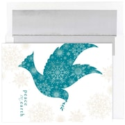 JAM Paper® Christmas Holiday Cards Set, Snowflake Dove, 16/pack (526862700)