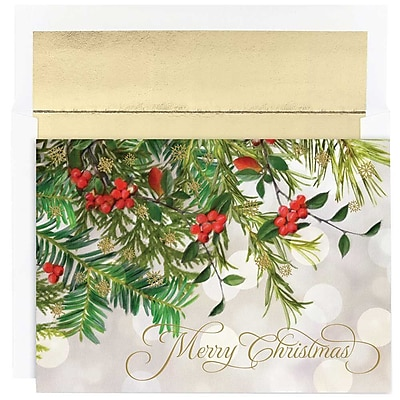 JAM Paper® Christmas Holiday Cards Set, Christmas Boughs, 18/pack (526863500)
