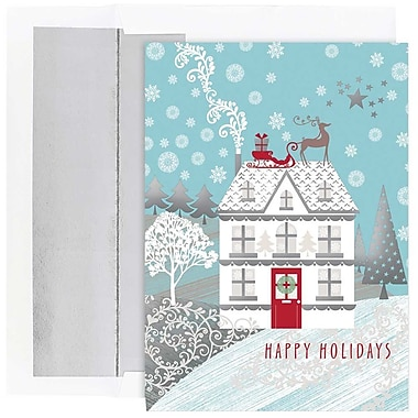JAM Paper® Christmas Holiday Cards Set, Holiday Home, 18/Pack (526863800g)